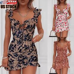 US Womens Sexy Sleeveless Floral Bodycon Dress Evening Party Club Cocktail Dress $20.23