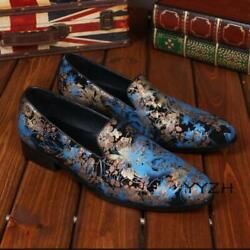 Menand039s Slip On Low Heel Floral Printed Rock Singer Loafer Casual Round Toe Shoes