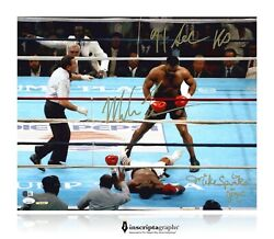 Mike Tyson / Michael Spinks Dual Signed 16x20 Photo D/20 Inscribed Jsa Coa Rare