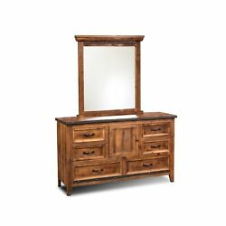 Sunset Trading Rustic City Dresser With Mirror  6 Drawers  Storage Cabinet