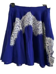 Bnwot Carven Bright Blue With Lace Silk Pleated A-line Mini Skirt In Size36