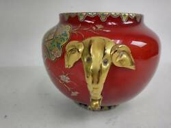 Antique 6 Glass Bowl Red Gold Elephant Hand Painted English Registry Marks 1883