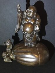 Antique Chinese Bronze Buddah / Buddai Statue With Treasure Sack Attendant Child