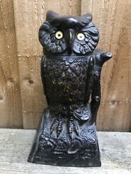 Superb Antique Americana Cast Iron Money Box In The Form Of A Owl