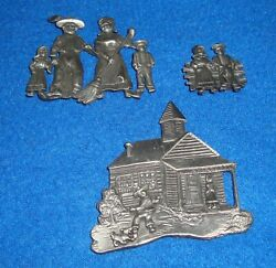 Vintage Pewter Souvenir Magnet Amish Country Pa Lot Of 3