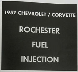 1957 Chevrolet Corvette Rochester Factory Fuel Injection 32 Page Service Manual