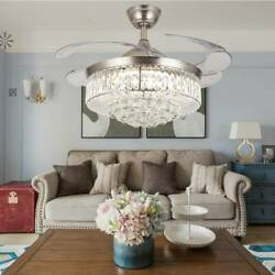 Crystal Led Chandelier Invisible Ceiling Fan Light Ceiling Lamp W/ Remote