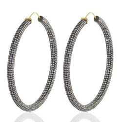 Natural Pave Diamond Oxidized Hoop Earrings 925 Sterling Silver Vintage Jewelry