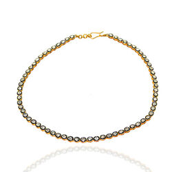 6.60ct Rose Cut Diamond Necklace 14kt Solid Gold Sterling Silver Wedding Jewelry
