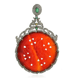 2.1ct Diamond Agate Emerald Pendant 18k Gold 925 Sterling Silver Carving Jewelry