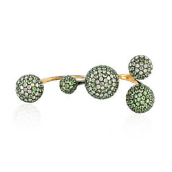 Tsavorite Studded Diamondtwo Finger Pave Ball Ring 925 Sterling Silver Jewelry
