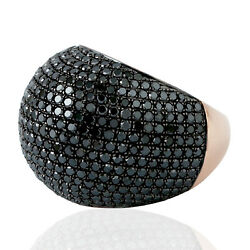 18k Gold 925 Sterling Silver Studded Black Diamond Dome Ring Handmade Jewelry