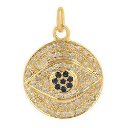 14k Yellow Gold Blue Sapphire Pave Diamond Evil Eye Pendant Jewelry For Her