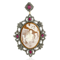 18k Gold Oval Cut Ruby Diamond Antique Cameo Pendant Sterling Silver Jewelry