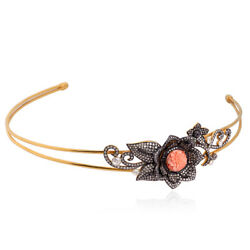 Sterling Silver 4.31ct Pave Diamond Coral Gemstone Antique Flower Headband Gold