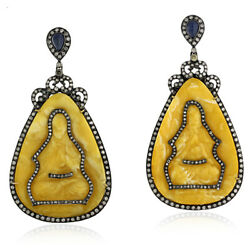 18k Gold Carved Amber Blue Sapphire Pave Diamond Dangle Earrings Silver Jewelry