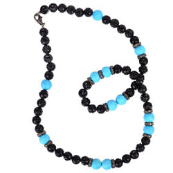 Carved Turquoise Onyx Diamond Bead Necklace Sterling Silver Jewelry For Her