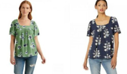 Lucky Brand Floral Peasant Square Neck Knit Top Blouse Size And Color Variety