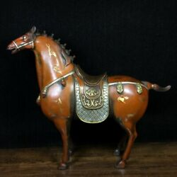12.9 Old Antique Chinese Bronze Gilt Handcarved Horse Statue A3