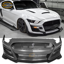 Fits 15-17 Ford Mustang Gt500 Style Front Bumper Cover W/ Grille Replacement Pp