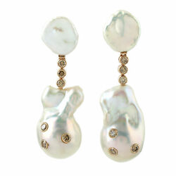 Solid Rose Gold 1.42ct Genuine Diamond Antique Pearl Dangle Earrings For Women