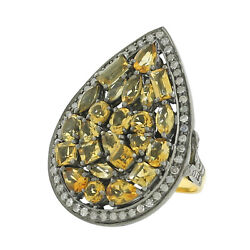 4.51ct Natural Citrine And Diamond Cocktail Ring 925 Silver 18k Gold Women Jewelry