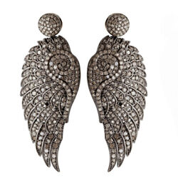 Designer Wings Dangle Earrings 7.86ct Pave Diamond Gold Sterling Silver Jewelry