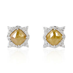 New Fine 3.18ct Natural Ice Diamond White Gold Stud Earrings Fashion Jewelry