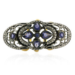 Pave Diamond Iolite 18k Gold Sterling Silver Designer Knuckle Ring Women Jewelry