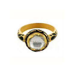 Victorian Look 22k Solid Yellow Gold Rose Cut Diamond Designer Ring Gift Jewelry