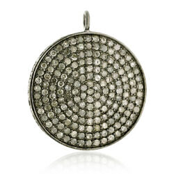 2.8ct Natural Pave Diamond 925 Sterling Silver Disc Pendant Vintage Look Jewelry