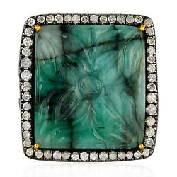 0.88ct Pave Diamond Carved Emerald Ring 18k Gold Sterling Silver Fashion Jewelry