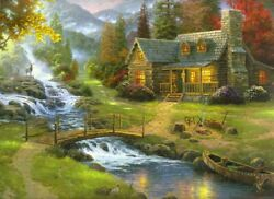 Oil Painting. Spring Landscape With Farmer's House Canvas