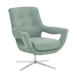 Armen Living Quinn Contemporary Adjustable Swivel Accent Chair In Polished St...