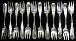 And Co Marquise 12 Sterling Silver 6 3/4 Three Tine Salad Forks