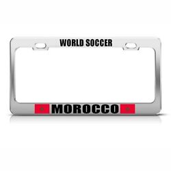 License Plate Frame Morocco Moroccan Flag World Soccer Car Accessories Chrome
