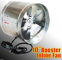 10 Duct Booster Inline Blower Fan Exhaust Vent Air Cooled Hydroponic110v / 60hz