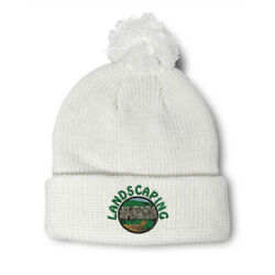 Pom Pom Beanies For Women Landscaping Lawn Service Embroidery Acrylic Skull Cap