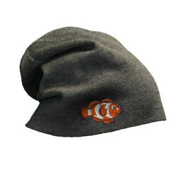 Slouchy Beanie For Men Clown Fish A Embroidery Winter Hats Women Skull Cap
