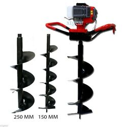 52cc Gas Power Earth One Man Post Fence Ice Hole Digger W/3 Drill Bits 4 6 10