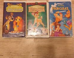 Three One Of A Kind Vhs Tapes Lady The Trampbambi And Hercules