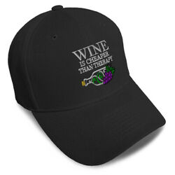 Dad Hats For Men Wine Is Cheaper Than Therapy Embroidery Women Baseball Caps