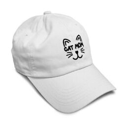 Soft Women Baseball Cap Cat Mom Face Embroidery Dad Hats for Men Buckle Closure $14.99
