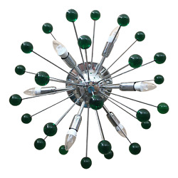 Flush-mount Wall Sconce With A Chrome Base Sputnik Murano Glass In Green