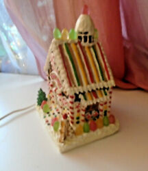 Vtg Lighted 9 H X 6w Gingerbread House Christmas Tree Village Candy Shop Rare