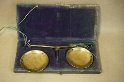 Antique Brass Jewelry Hanging Balance Scales, Orig. Velvet Box, Made In Germany