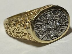 14k Menand039s Ring German Cross Encrusted With Five Diamonds Size 12