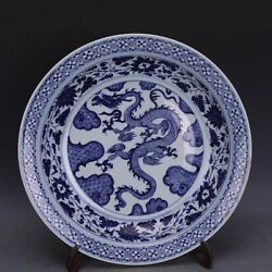 17.7 Antique Old China Porcelain Yuan Dynasty Blue White Dragon Wave Plate