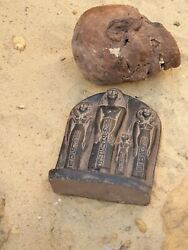 Rare Antique Ancient Egyptian Statue King And 2 Wives And Daughter Gods Hirog 2480bc