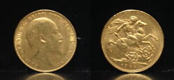 Gold Sovereign Bu Pre Ww-i 1906 Minted In Great Britain--king Edward Vii-dragon